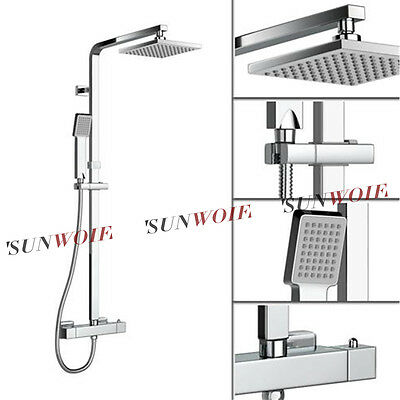 Square Chrome Twin Head Thermostatic Exposed Valve Adjustable Shower Mixer Sets