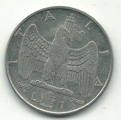 High Grade Au 1940 R Italy 1 One Lira Coin-Reeded/non-Magnetic-Dec345