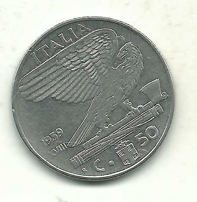 Very Nice High Grade 1939 R Italy 50 Centesimi Coin-Reeded/non Magnetic-Jun196