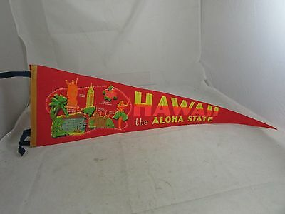 Vintage Souvenir Soft Felt Pennant Hawaii the Aloha State Tourist Attractions