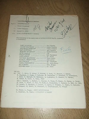 RARE 1978 Long Journey Back Cast Lists Memos TV MOW Mike Connors SIGNED FOY III