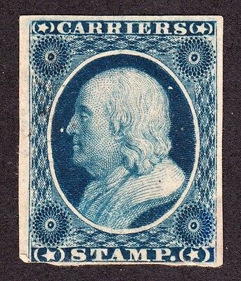 US LO3 1c Carrier Stamp Unused Third Reprint on Wove Paper F-VF NG SCV $50