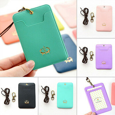 Lovely Candy Color PU Necklace Bus IC ID Credit Card Skin Cover Holder Bag New
