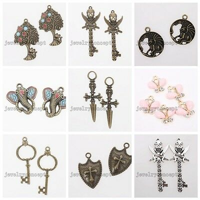 10/50x Hot Retro Bronze/Antique Silver Alloy Charms Pendants Different Styles J