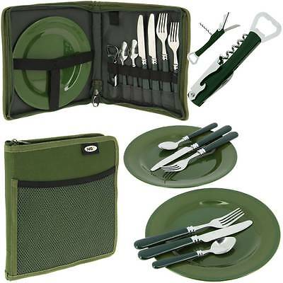 NGT 600 Deluxe Carp Fishing Camping Picnic Day Cutlery Set 2 Plates Forks Spoons
