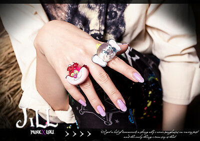 Lolita cartoon Dumbo elephant VS Cheshire cat transparent cocktail ring JN6056