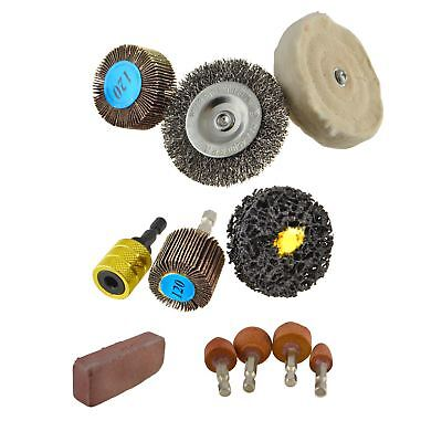 11pc Quick Release Hex Shank Drill Attachment Polishing Buffing Sanding Wheels