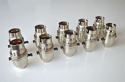 10 Switched Nickel B22 Bayonet Lamp Bulb Holder Light Shade Ring 10Mm Entry L10