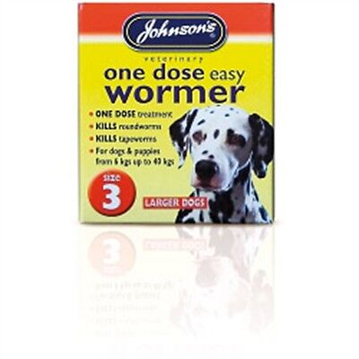 Size 3 One Dose Dogs Easy Wormer - Johnsons Vet Puppies Ringworm Tapeworm Killer
