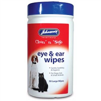 Eye & Ear Cleaning Wipes For Cats - Johnsons Vet Clean 'n' Safe & 50 Pets Dogs