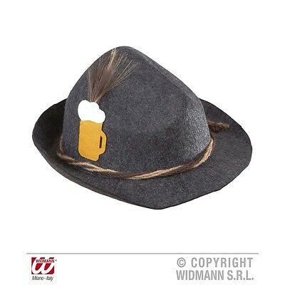 Adult's Bavarian Felt Hat - Deluxe With Feather Beer Drinking Fancy Dress