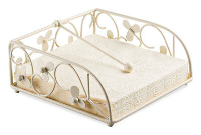 Ambiente Cream Flower Metal Napkin Serviette Holder Tidy Rack Box Kitchen Dining