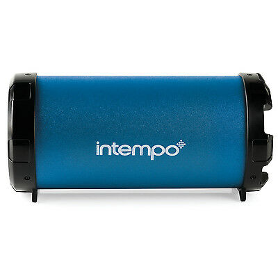Intempo Rechargeable Large Blue Tube Wired Wireless Bluetooth Portable Speaker