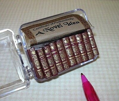 Miniature Shakespeare Books Titles (10), BURGUNDY: DOLLHOUSE 1/12 (Blank) Pages
