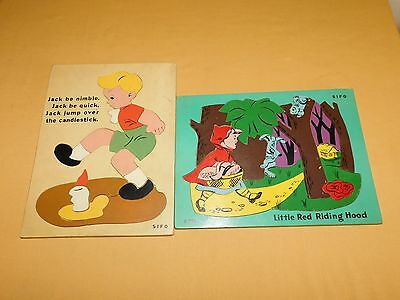 Vintage 1950S Sifo Little Red Riding Hood Jack Be Nimble Wood Puzzles