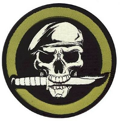 US RANGER SKULL KNIFE ARMY PATCH WITH HOOK BACK mit Hakenklett