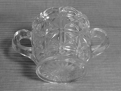 Vintage EAPG Glass Sugar Bowl  2 Handle Scalloped Cross Block Pattern Footed