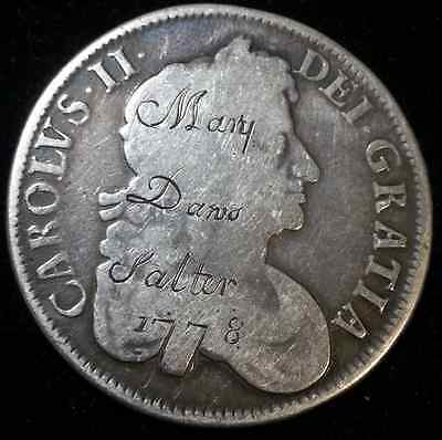 "RARE 1677 CHARLES II CROWN LOVE TOKEN ENGRAVED ""Mary Dans Salter 1788"""