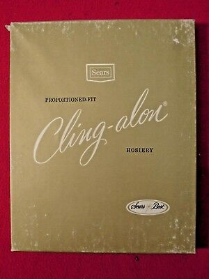 1960s Ladies Sears Cling-alon Hosiery Stocking In Original Box NOS Sunset Tall