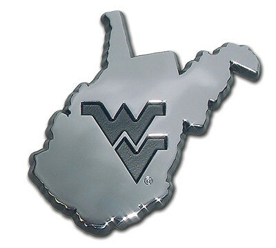 west virginia mountaineers WV state shape logo chrome car auto emblem usa made