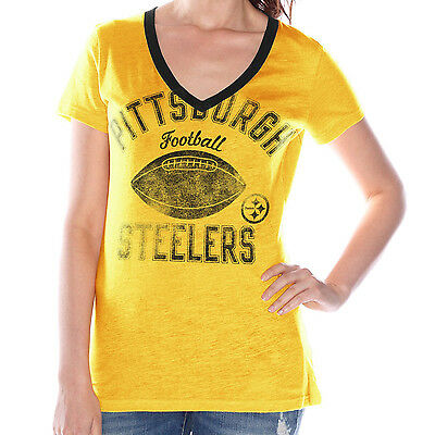 c51bd2268 PIttsburgh Steelers NFL Women s Yellow Distressed V-Neck T-Shirt- Medium