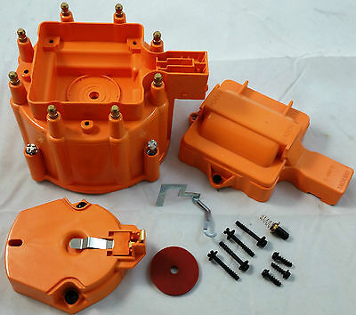 Orange Chevy Pontiac Buick Olds V8 HEI Performane Distributor Cap & Rotor Kit