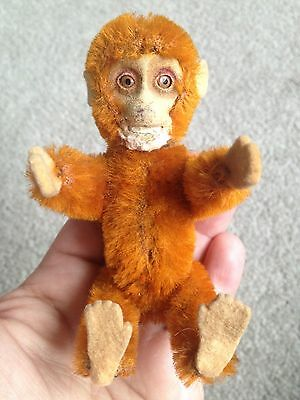 "RARE 1920's Schuco Miniature  5""  Jointed Mohair Perfume Bottle MONKEY ORANGE NR"