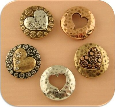 2 Hole Beads Heart Circles in 3T Silver Copper Gold Clear Crystals~Sliders QTY 5