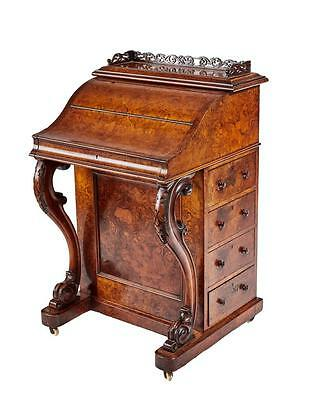 A Fine Quality 19Th Century Burr Walnut Pop Up Davenport Writing Desk