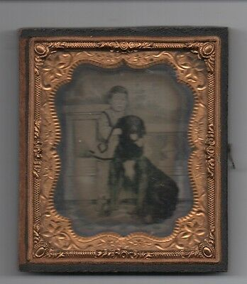 1860s Ambrotype Photo of Boy and his Large Dog