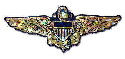 navy aviator wings logo reflective 3d domed auto emblem vinyl decal usa made