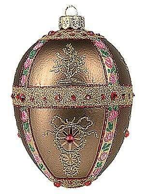 Pink Branches Egg Faberge Inspired Polish Glass Ornament  Easter Decoration