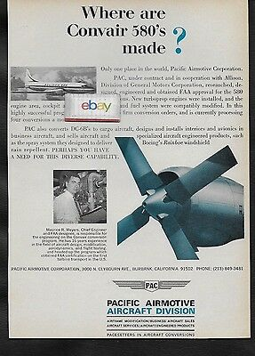 Frontier Airlines 1965 Convair 580 Where Are They Made? Pac Airmotive Burbank Ad