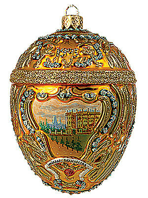 Faberge Inspired Gold Hermitage Egg Polish Glass Christmas or Easter Ornament