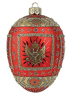 Red Eagle Egg Faberge Inspired Polish Glass Holiday Ornament Easter Decoration