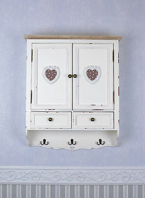WALL CABINET HOOK Wardrobe MEDICINE COUNTRY HOUSE STYLE CUPBOARD WHITE