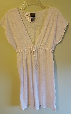 NWT Oh Baby Motherhood Maternity MEDIUM White Burnout Swim Cover Up BEACH #29816
