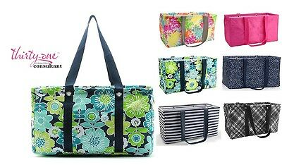 LARGE MEDIUM UTILITY TOTE bag laundry thirty one gift 31 basket Geo Strip & more