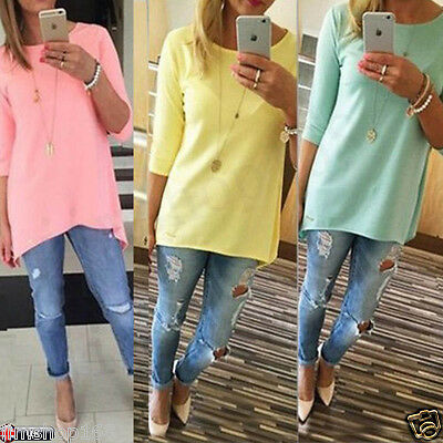 Lady Womens Loose Pullover T Shirt Long Sleeve Cotton Tops Pullover Shirt Blouse