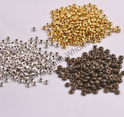 100PCS  Tibetan Silver/Gold/Bronze Spacer Beads Jewelry Findings 4MM CA3080
