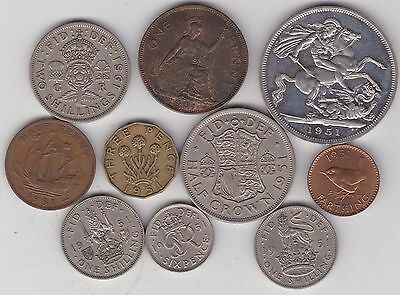 1951 George Vi Set Of 10 Coins In Good Fine Or Better Condition