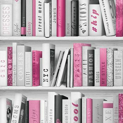 Pink Fashion Library Bookcase Wallpaper - Muriva 139501 Glitter Books