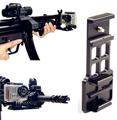 Cantilever Picatinny Weaver Gun Mount For 20mm Rail GoPro HD Hero 4 3 + 2 Camera
