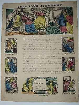 Solomon's Judgment 1858 Handwriting Practice Sheet, Hand Coloured Woodcuts