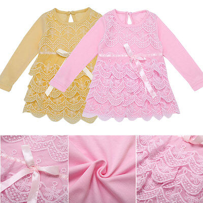 Baby Little Girls Princess Dress Clothes Long Sleeve Top Lace Bow Tutu Skirt EW