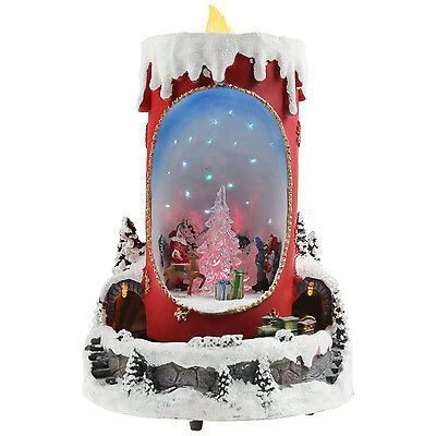 Snow White Musical Light Up Candle Train Scene Xmas Tabletop Ornament Decoration