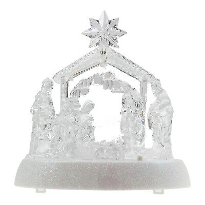 Snow White Musical Light Up Nativity Christmas Xmas Tabletop Ornament Decoration