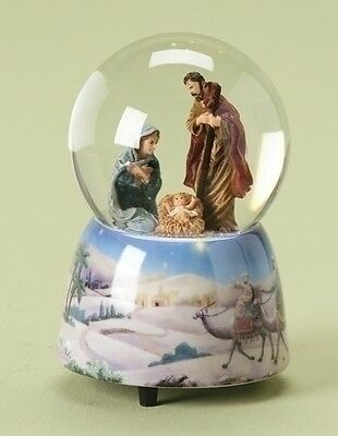Holy Family Nativity Musical Silent Night Christmas Snow Water Globe 35131 New