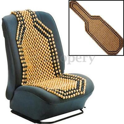 Brown Wooden Bead Beaded Massage Front Seat Cushion Cover Car Van Taxi Office