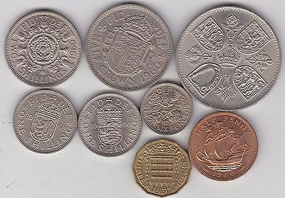 1960 Elizabeth Ii Set Of 8 Coins In Very Fine Or Better Condition
